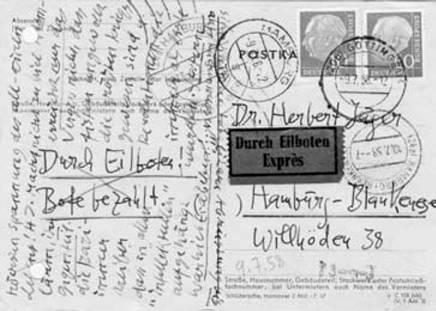 Postkarte von Hans Jürgen von der Wense